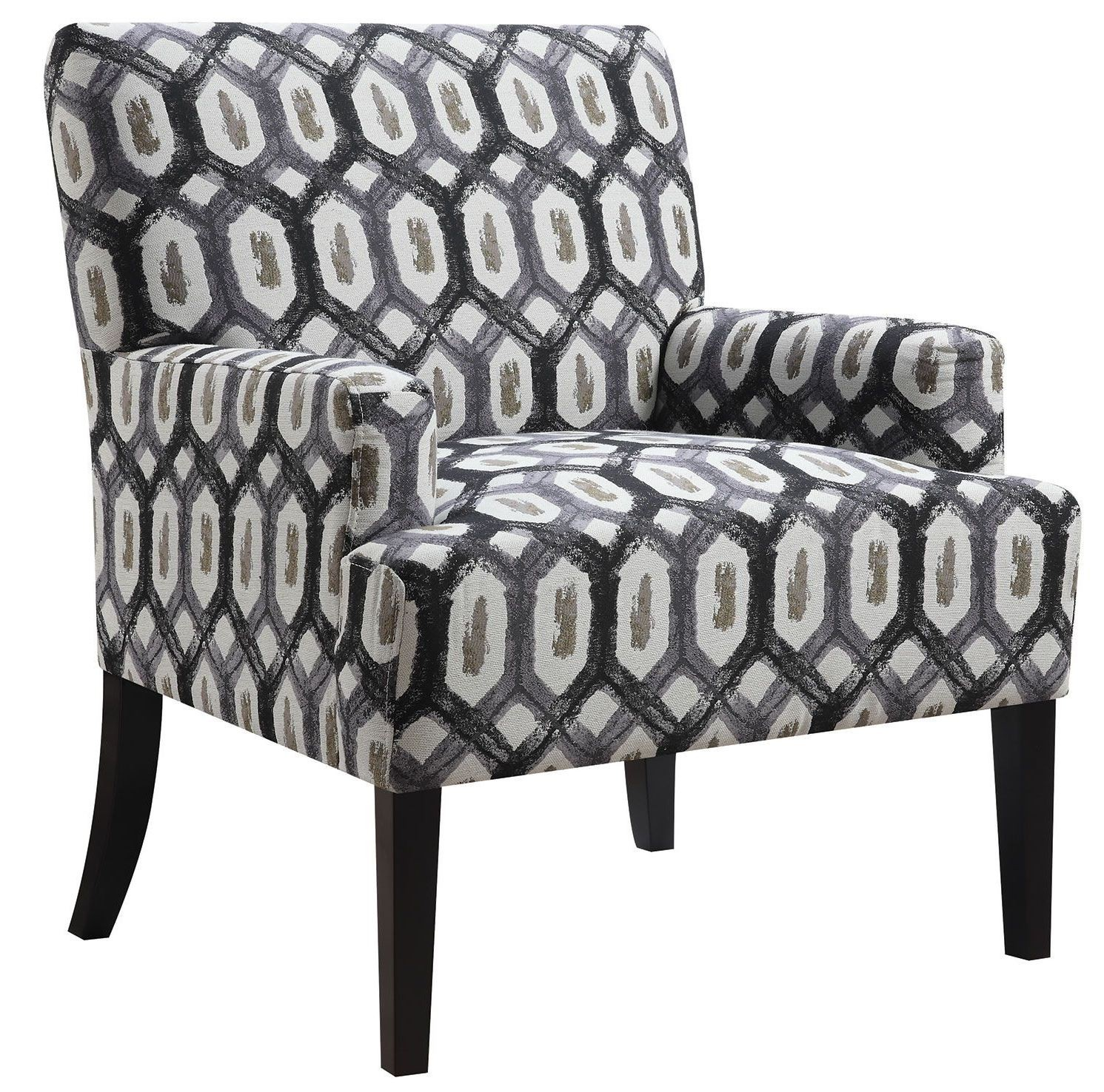 geometric accent chair posture strap dark grey pattern from coaster