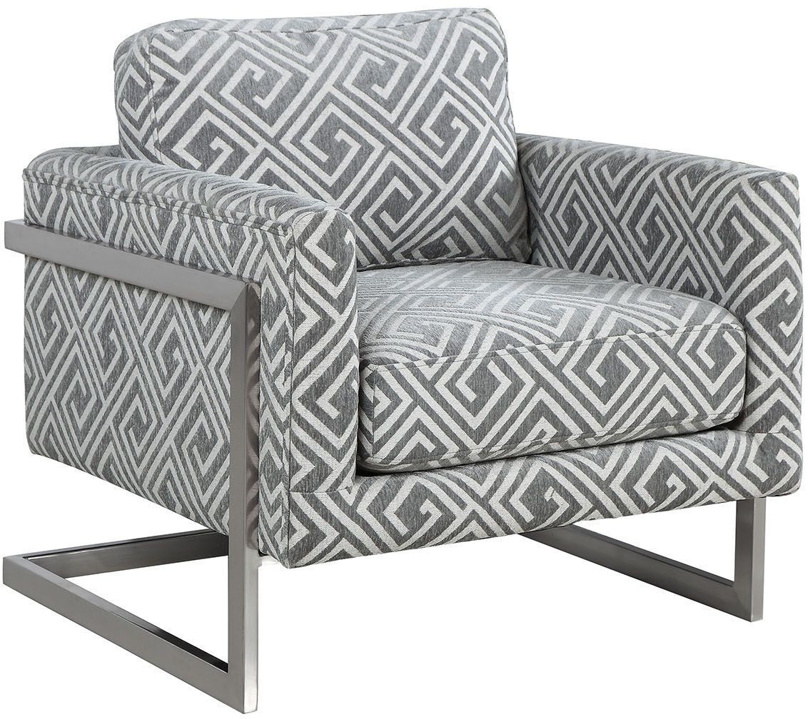 Grey And White Accent Chair