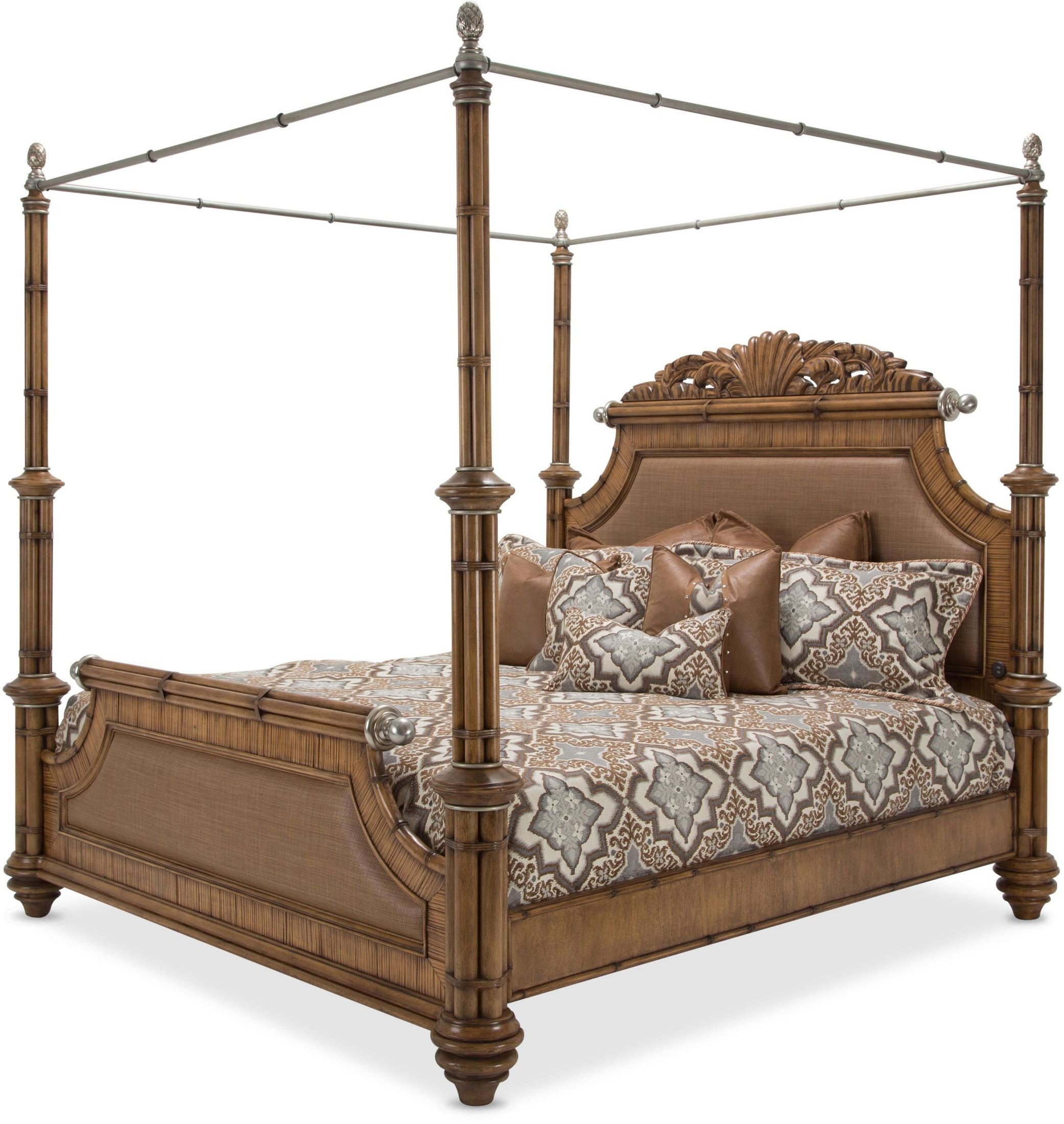 Excursions Caramel Cashmere Cal King Poster Bed From Aico