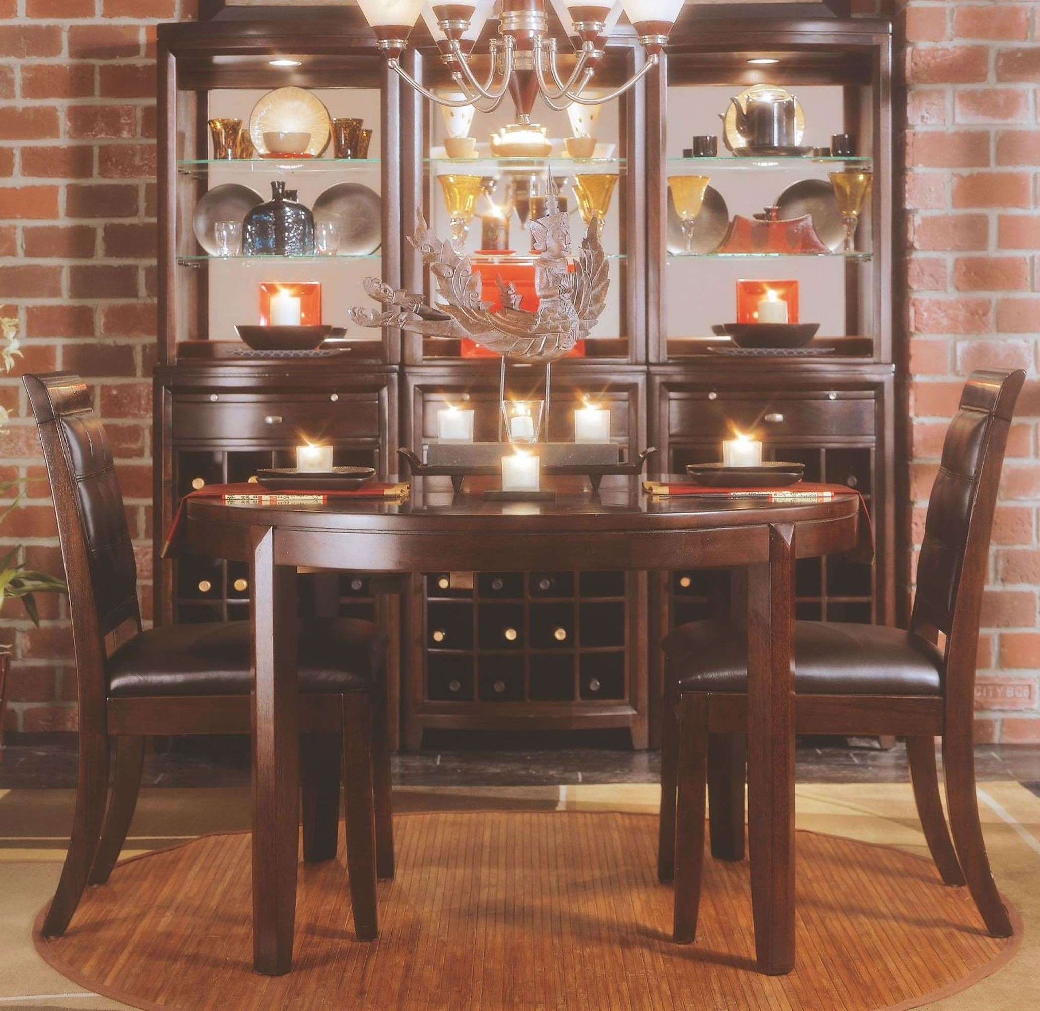american drew tribecca sofa table set image root beer round leg dining room from