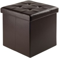 Ashford Espresso Upholstered Small Storage Ottoman from