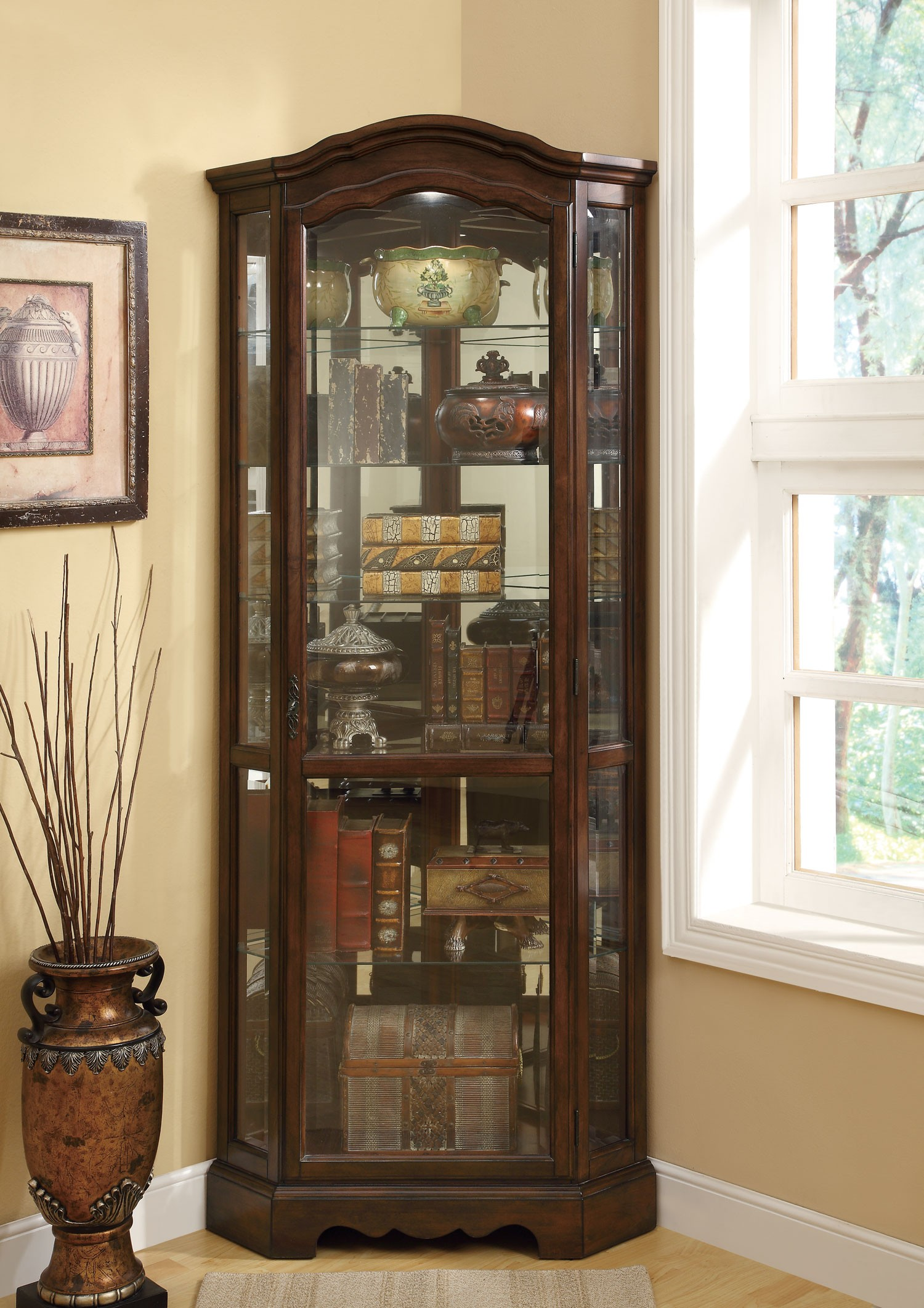 950175 Brown Corner Curio Cabinet from Coaster 950175