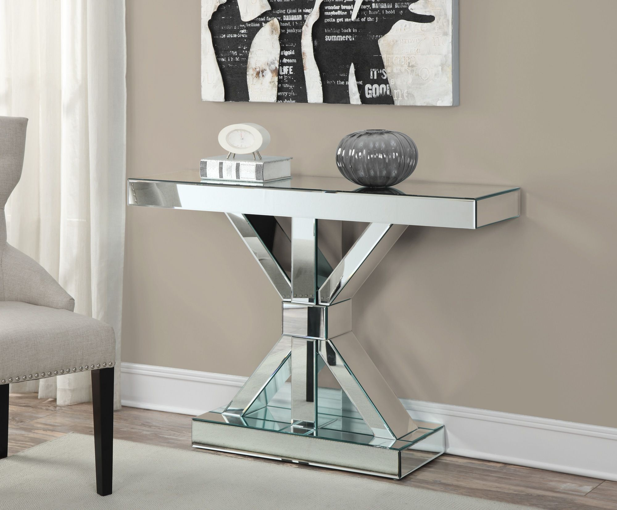 vogue chrome sofa table ottoman bed harvey norman 950191 console from coaster