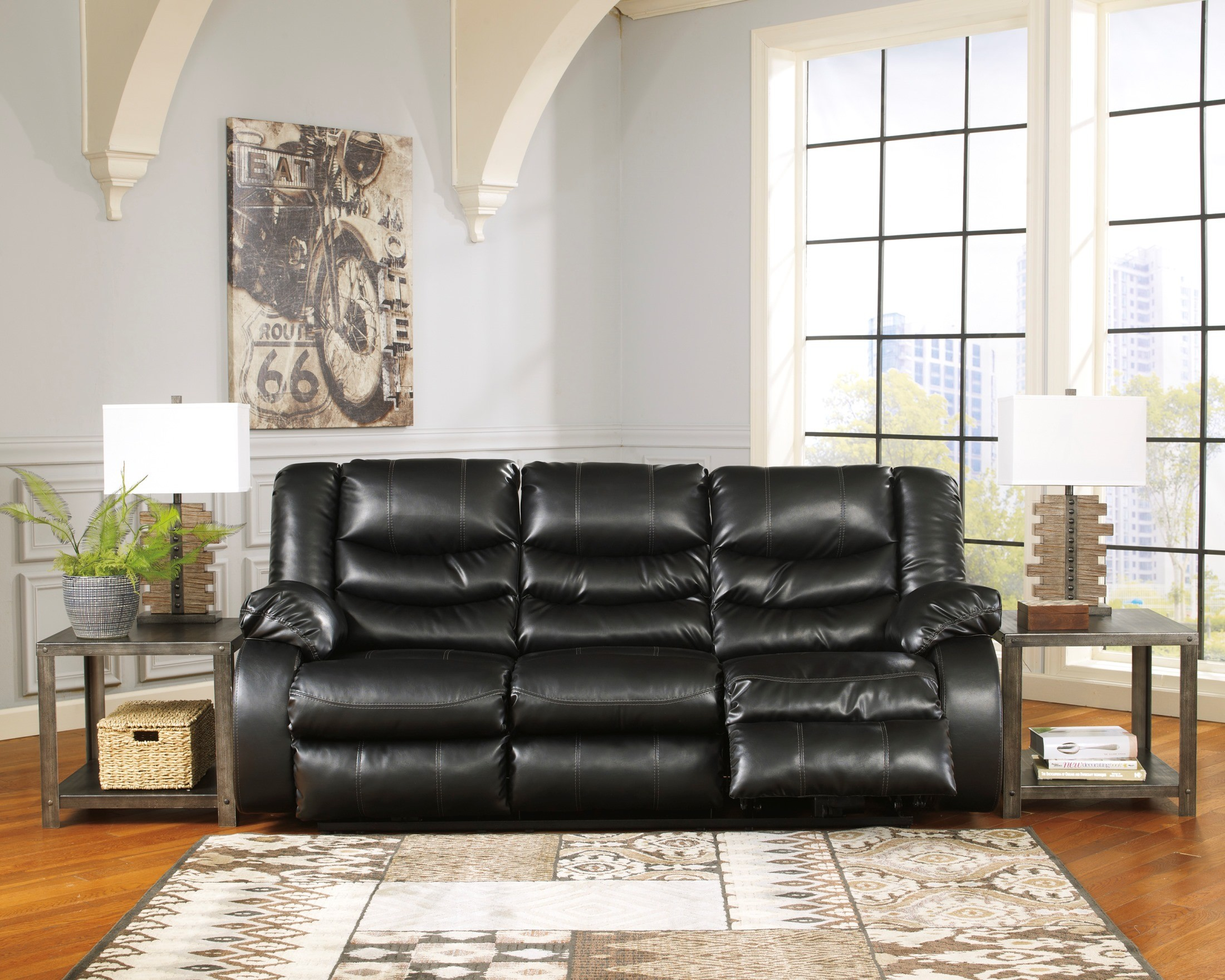 lauren ashley 60 zero wall sofa recliner sure fit slipcover linebacker durablend black reclining from