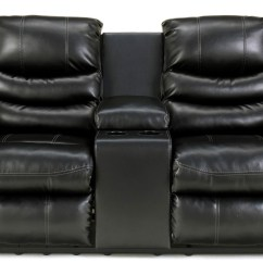 Black Reclining Sofa With Console Chesterfield Fast Delivery Linebacker Durablend Double Loveseat