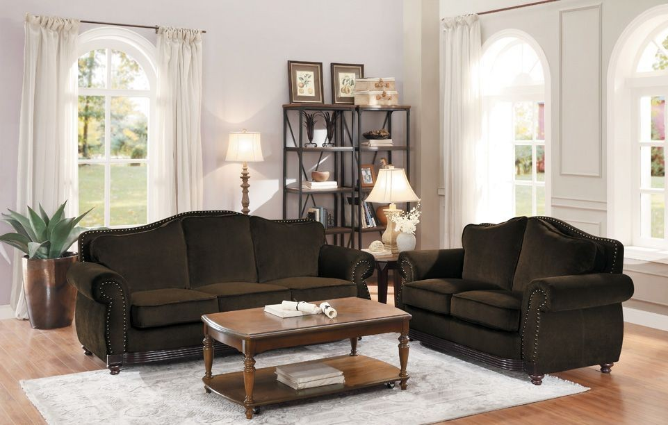 Midwood Chocolate Chenille Living Room Set From