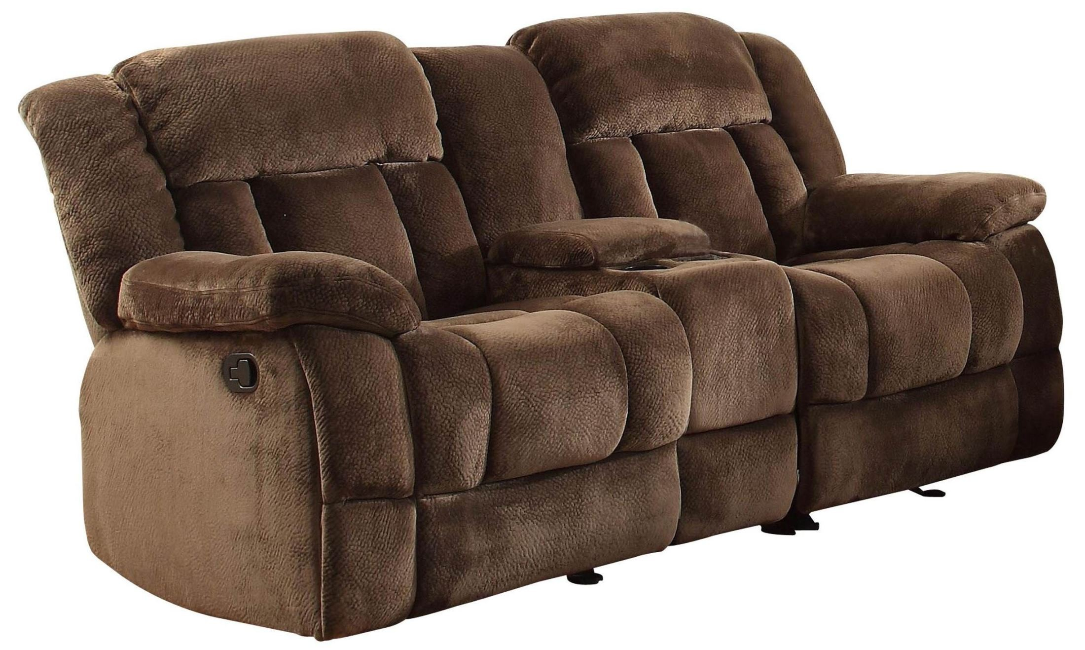 Double Wide Recliner Chair Laurelton Chocolate Double Glider Reclining Loveseat With