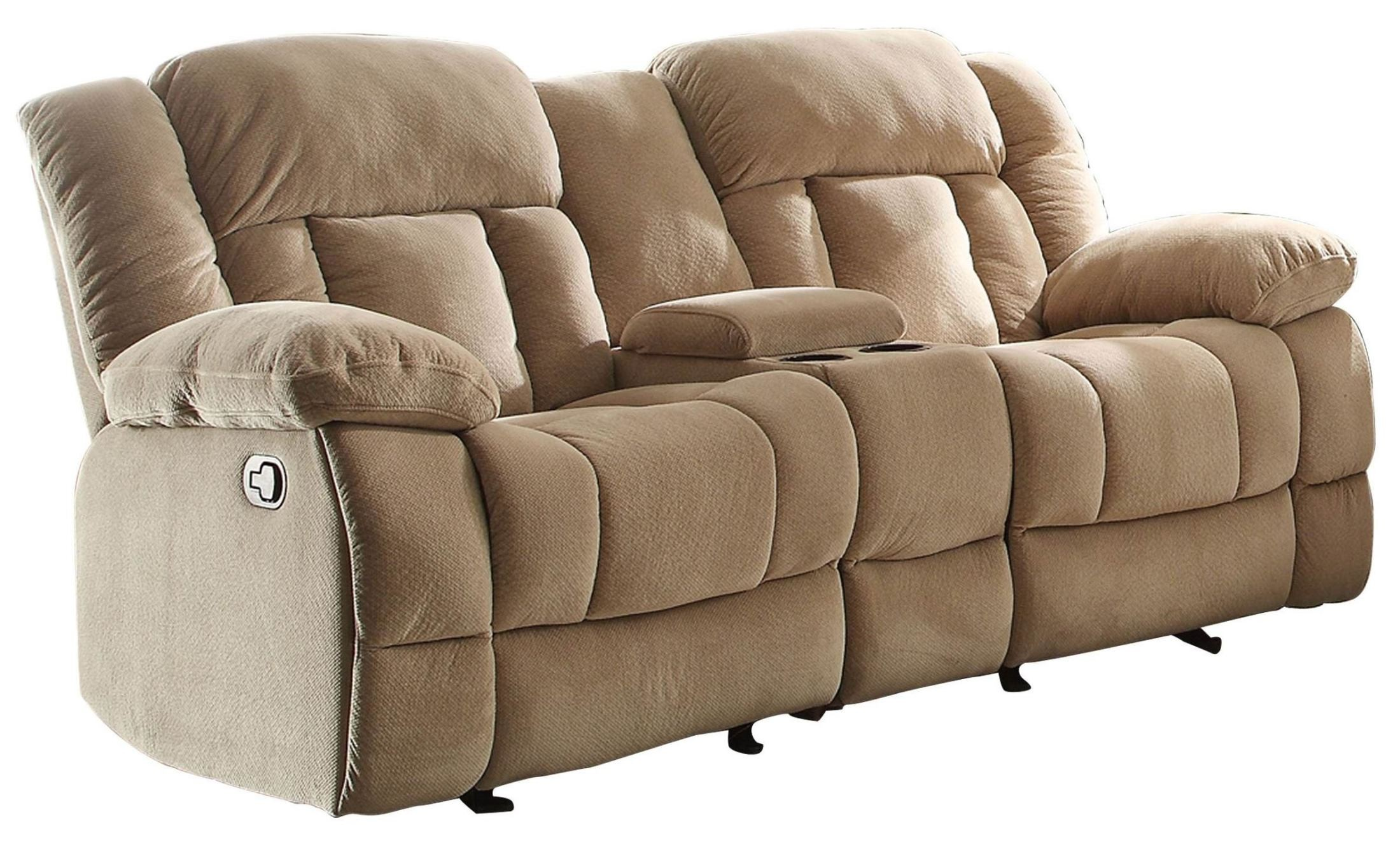 double recliner chairs with cup holders navana revolving chair laurelton taupe glider reclining loveseat