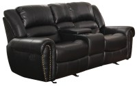 Center Hill Black Power Double Reclining Console Loveseat ...