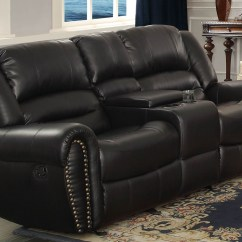 Black Reclining Sofa With Console Theater Sacks Bean Bag Center Hill Double Glider Loveseat