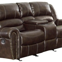 Double Sofa Recliner Lawson Oak Furniture Land Center Hill Dark Brown Power Reclining Console