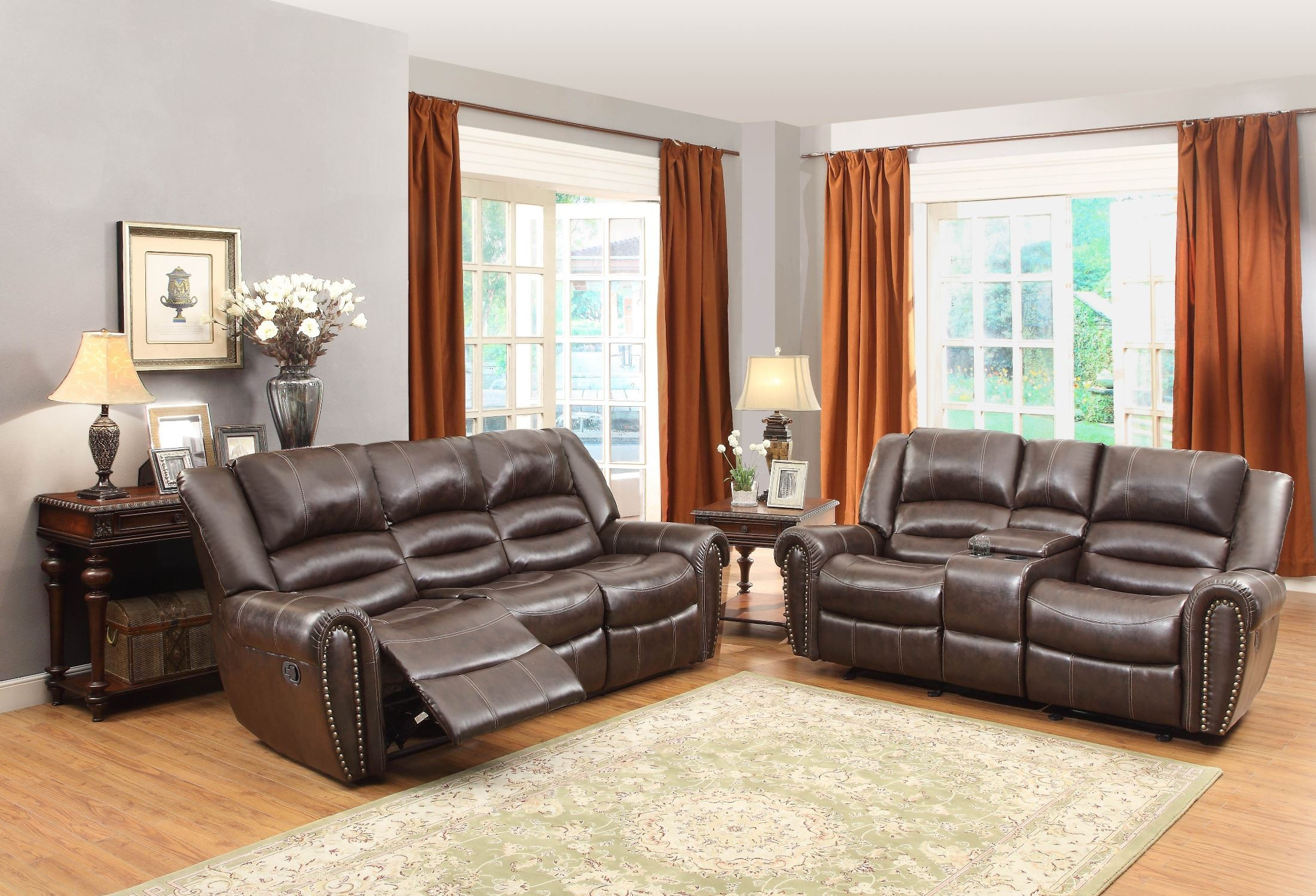 ryker reclining sofa and loveseat 2 piece set sure fit plush throw slipcover center hill dark brown power double from