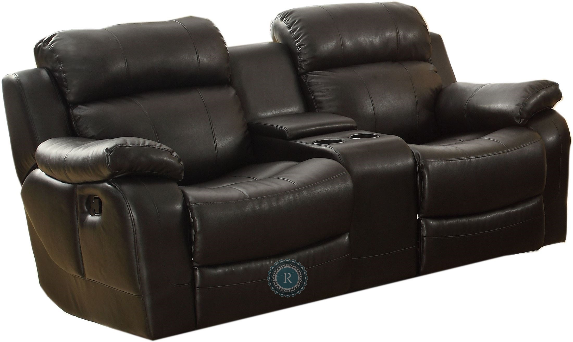 black reclining sofa with console lights marille double glider loveseat center