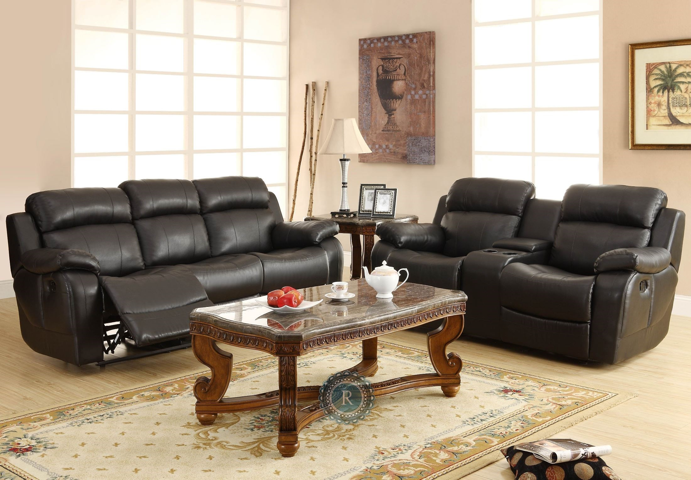 double recliner chairs with cup holders folding travel beach marille black reclining sofa center drop down