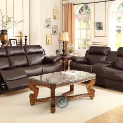 Double Recliner Chairs With Cup Holders Stretch Covers For Wingback Marille Dark Brown Reclining Sofa Center Drop