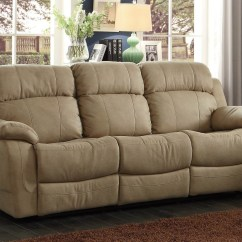 Double Recliner Chairs With Cup Holders Chair Makes Into Bed Marille Camel Reclining Sofa Center Drop Down