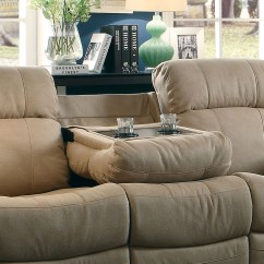 Double Recliner Chairs With Cup Holders Plastic Lounge Chair Marille Camel Reclining Sofa Center Drop Down