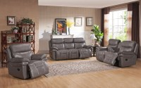 Summerlands Smoke Grey Leather Reclining Living Room Set ...