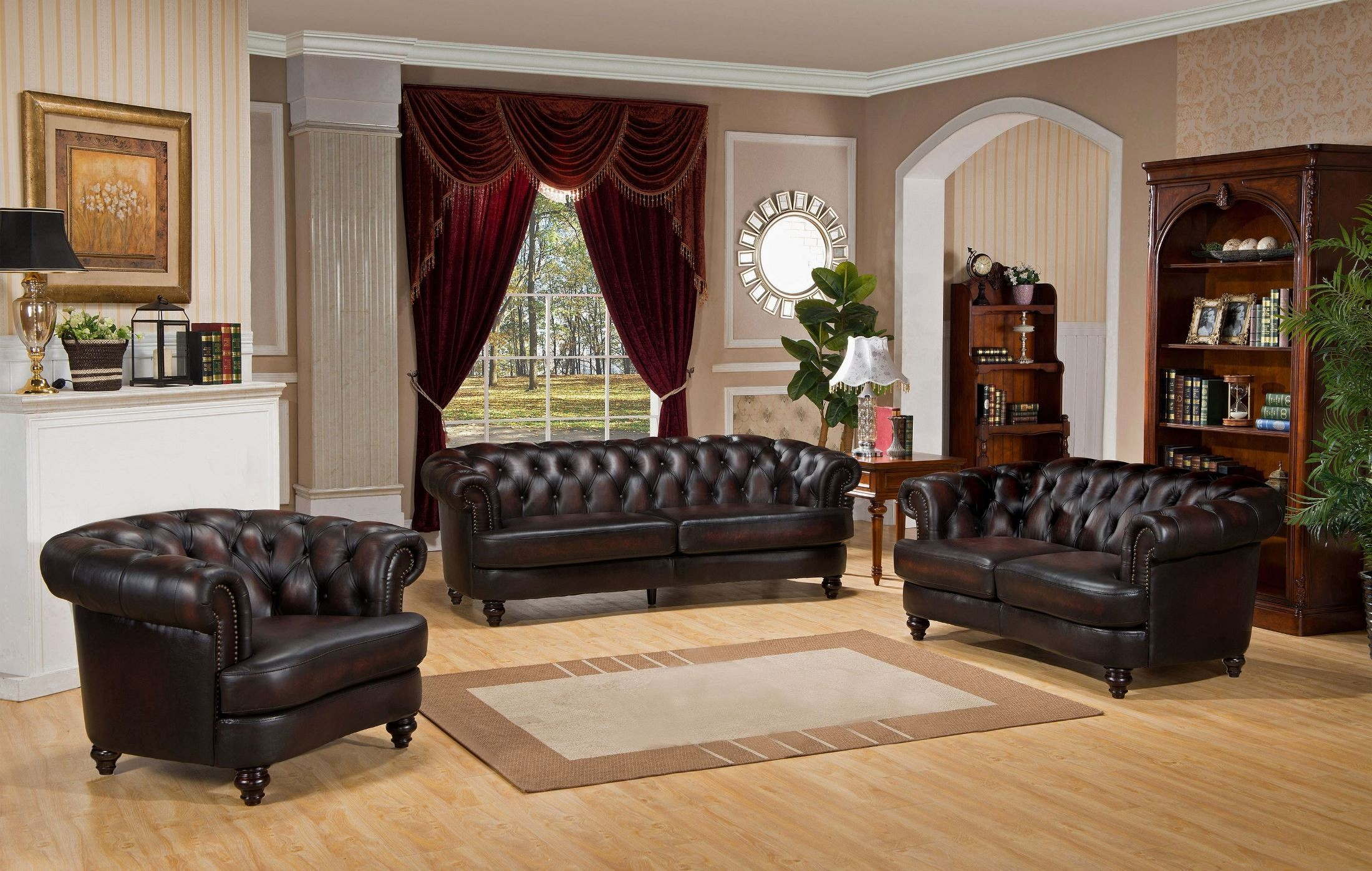 discount sofa and loveseat sets slipcover ikea mario brown leather living room set from amax ...