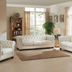 Genuine Leather Sofa And Loveseat Side Tables Uk Monaco Pearl White From Amax Coleman Furniture 1703286