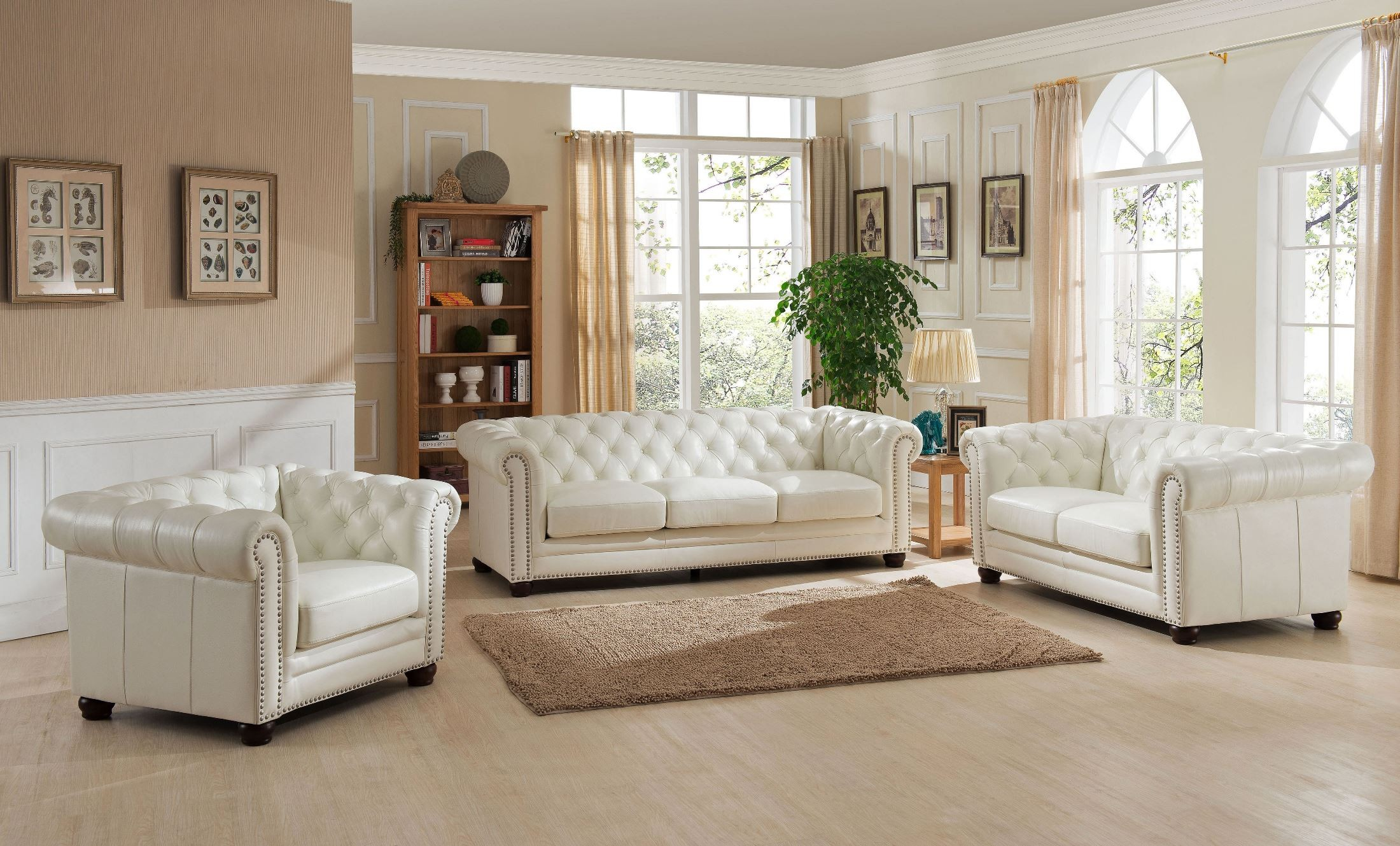 Monaco Pearl White Leather Living Room Set From Amax