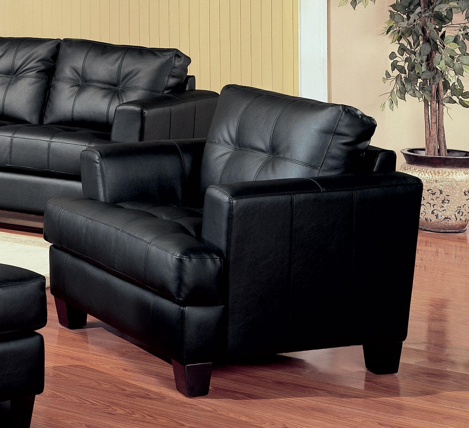 Black Living Room Chair Samuel Black Leather Living Room Set 501681 From Coaster