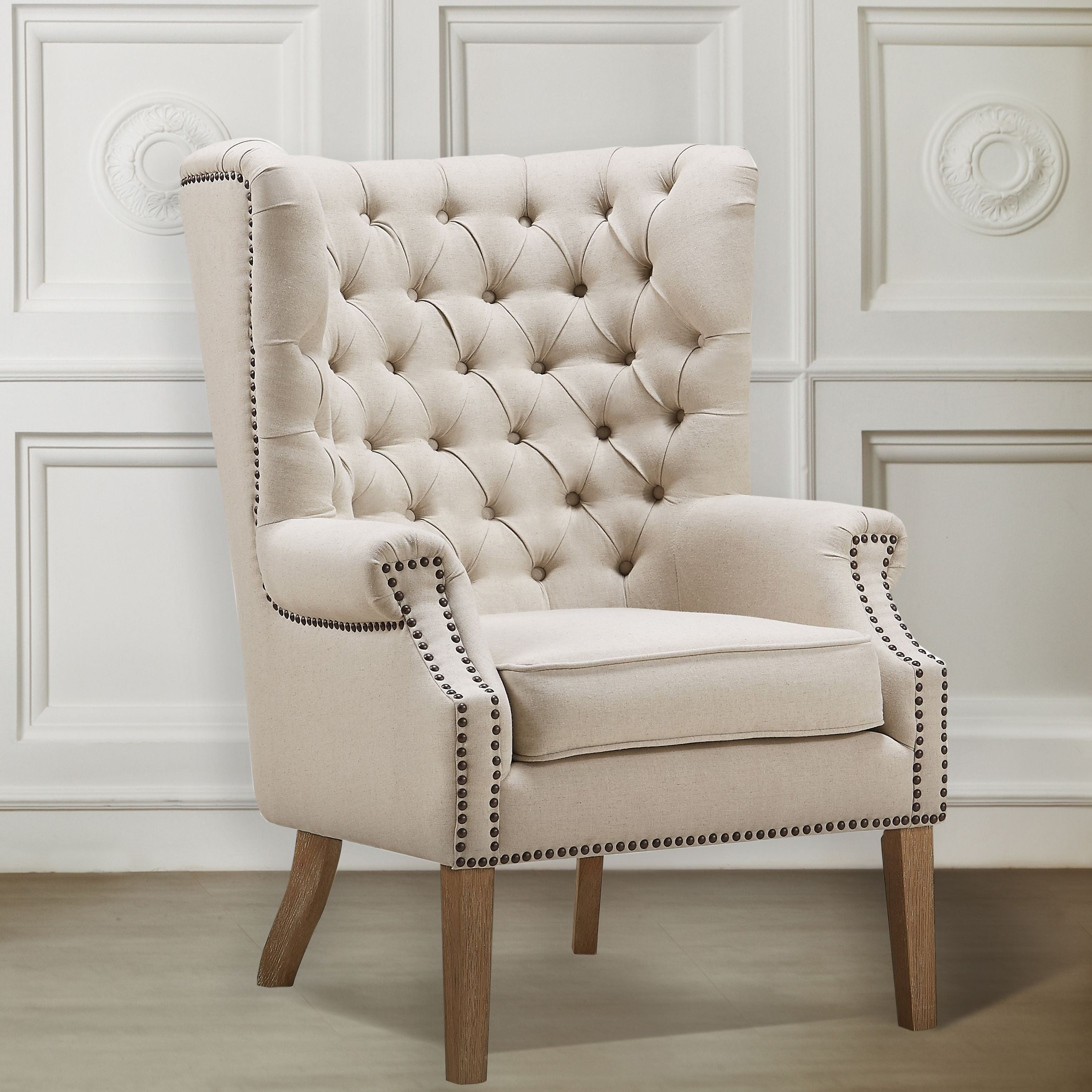 Linen Chair Abe Beige Linen Wing Chair From Tov Tov A2041 Coleman