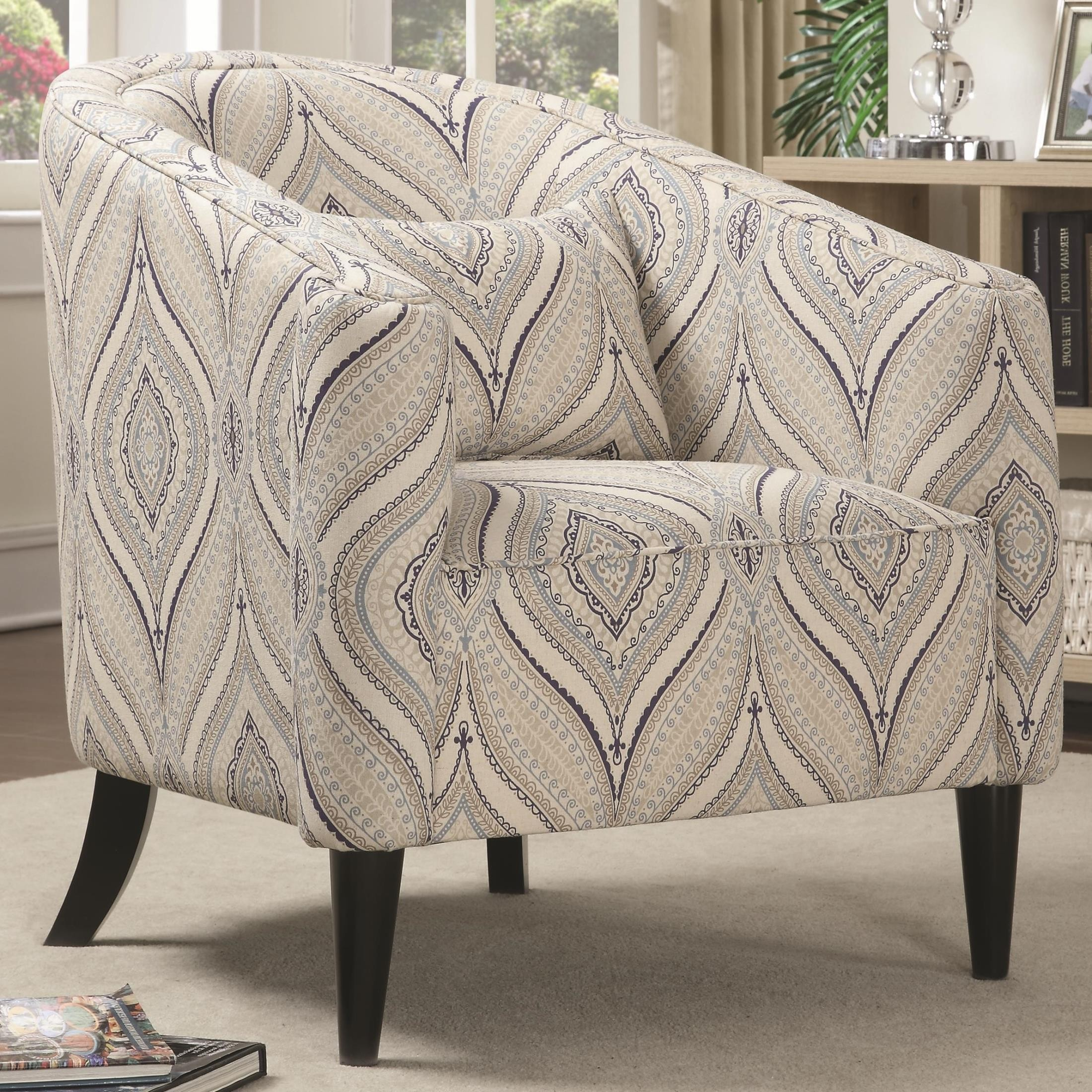 Multi Colored Accent Chairs Claxton Multi Color Printed Linen Accent Chair From