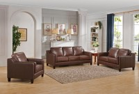 Acorn Brown 3 Piece Leather Living Room Set from Amax