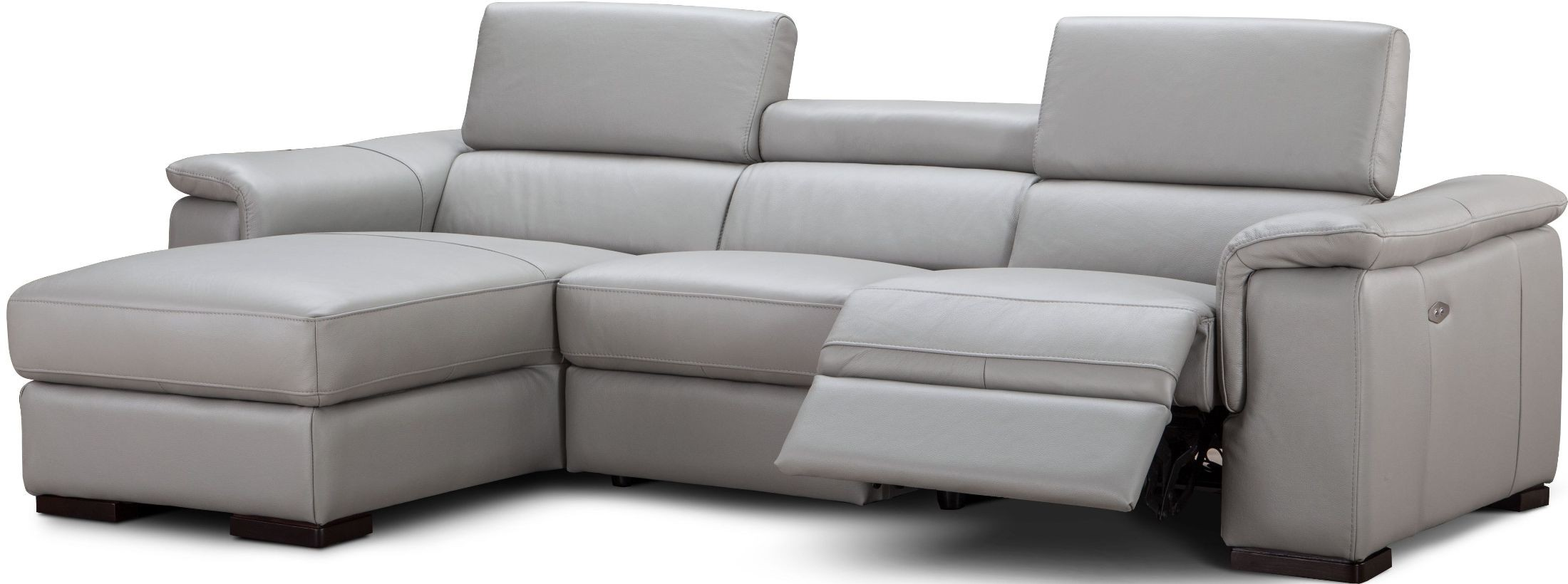 light gray leather reclining sofa l shaped outdoor uk alba premium power laf