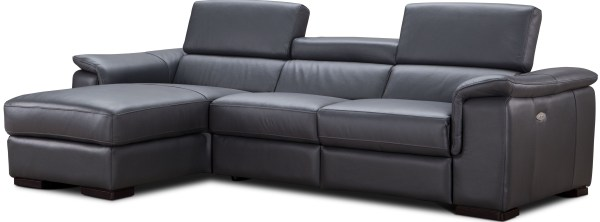 Gray Leather Power Reclining Sectional