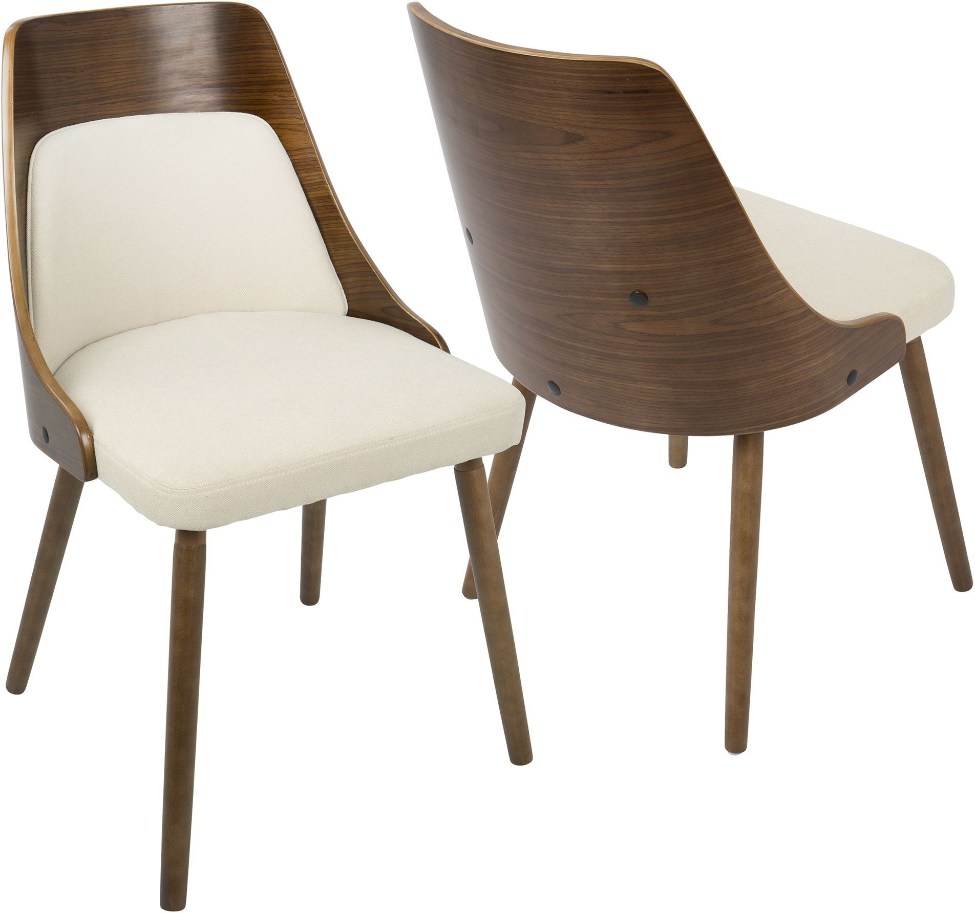 Cream Chairs Anabelle Walnut And Cream Dining Chair From Lumisource