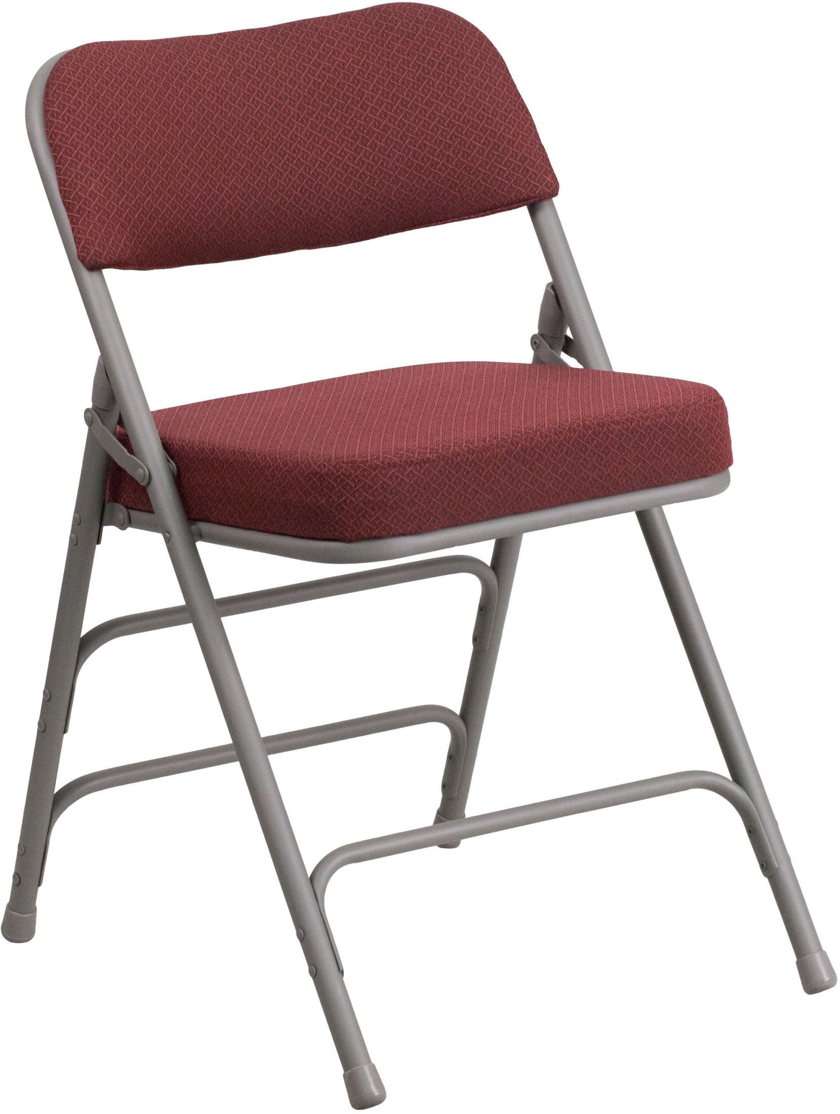Fabric Folding Chairs Hercules Series Premium Burgundy Fabric Upholstered Metal