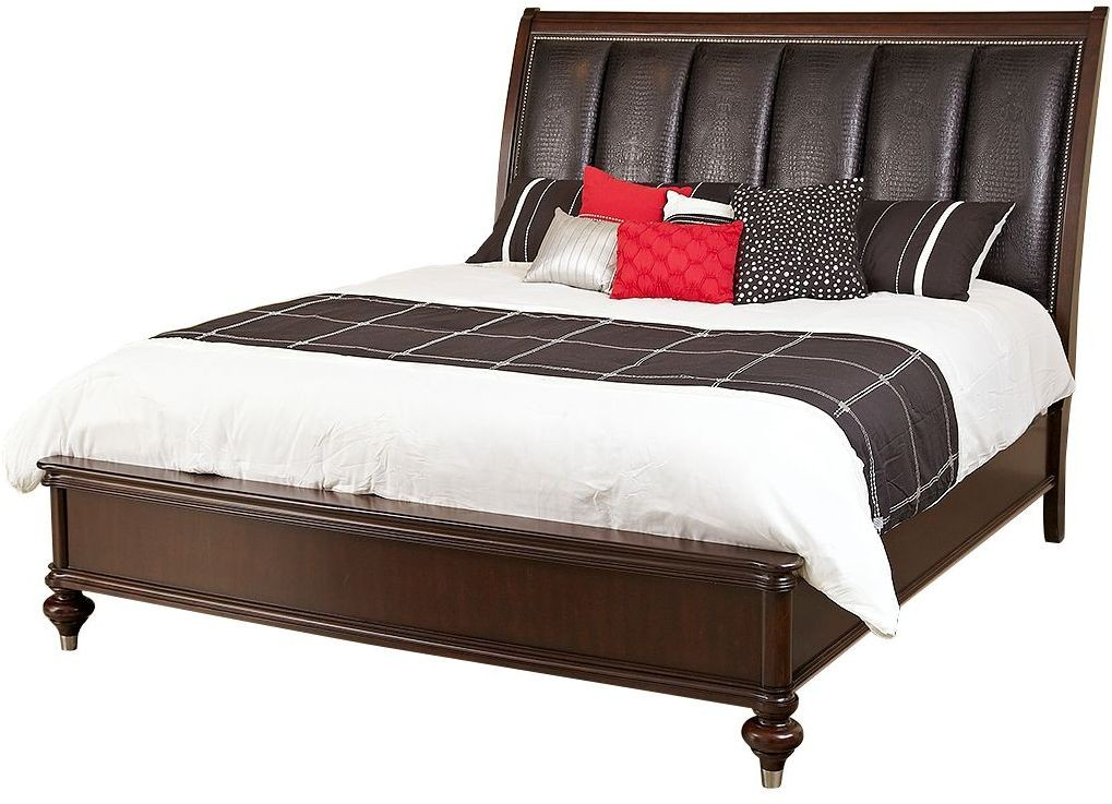 Dundee Place Brushed Nickel Queen Upholstered Panel Bed