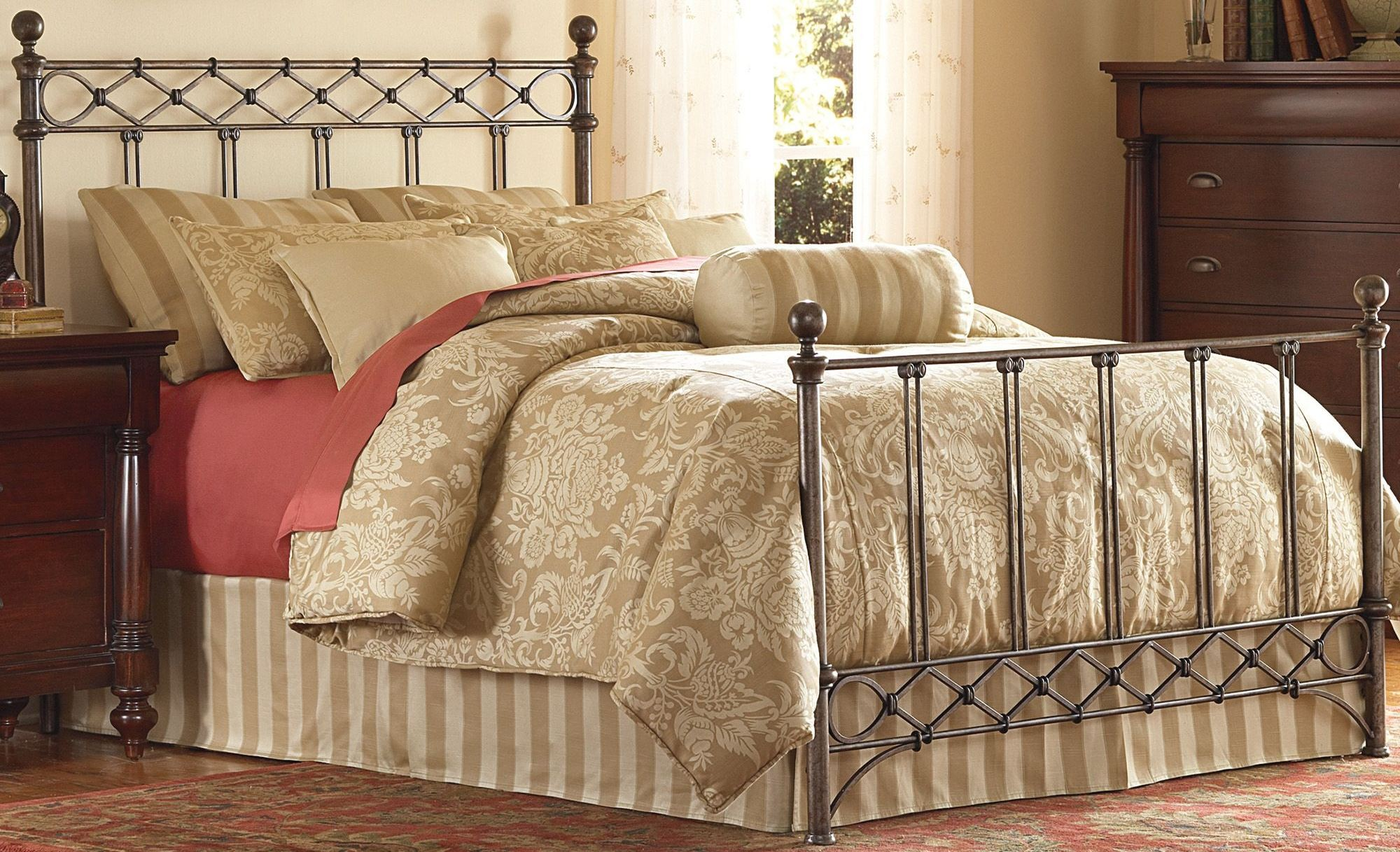 Argyle Copper Chrome Queen Ornamental Poster Bed, B11285