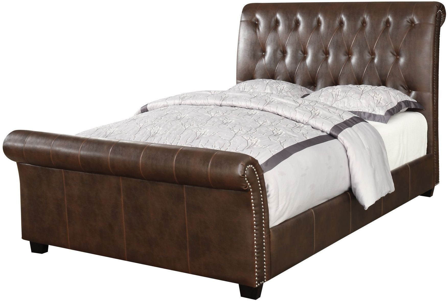 Innsbruck Ii Brown King Upholstered Sleigh Bed From