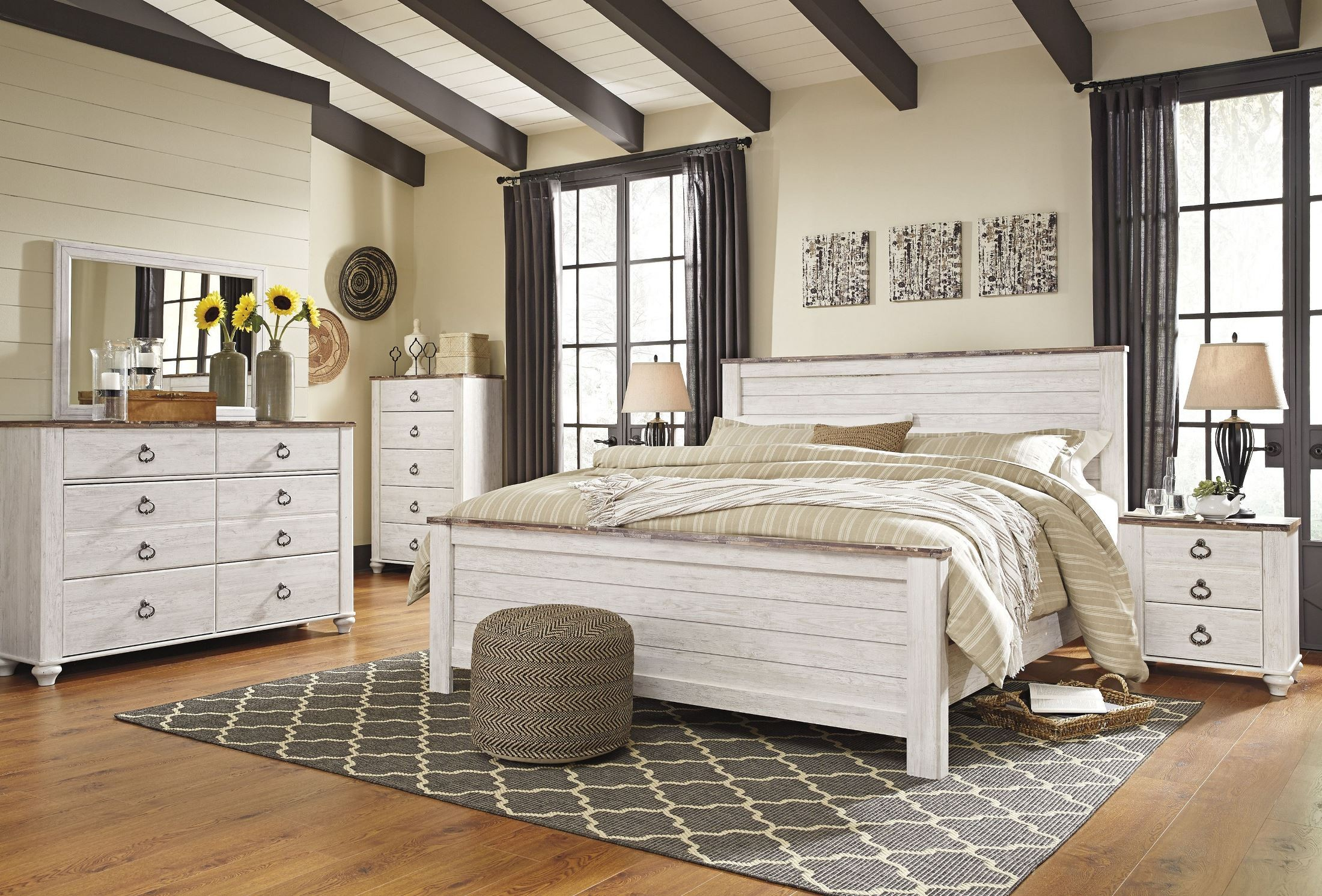 Willowton Whitewash Panel Bedroom Set from Ashley  Coleman Furniture
