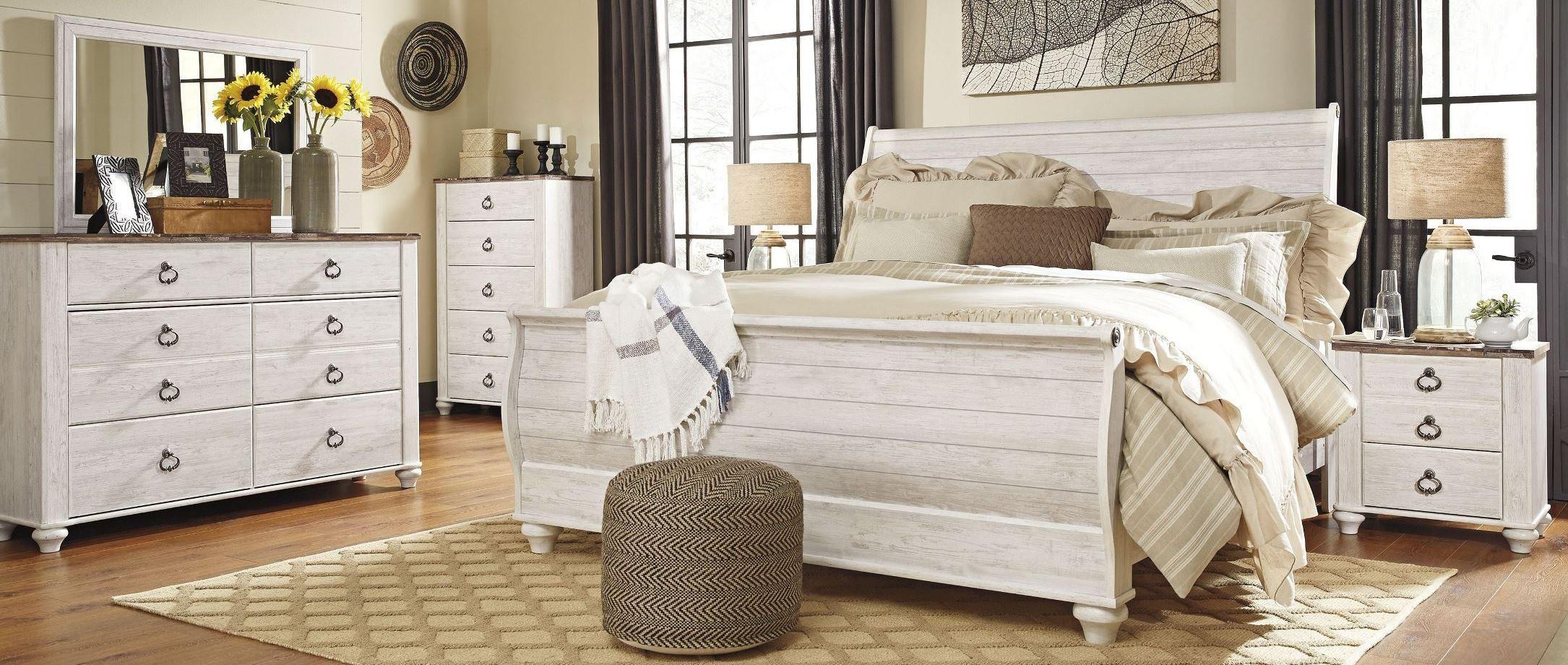 Willowton Whitewash Sleigh Bedroom Set B267747796 Ashley