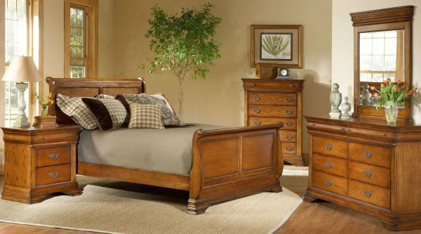 oak sleigh bedroom sets Shenandoah American Oak Sleigh Bedroom Set, B4850-51H-51F-51R, Largo Furniture