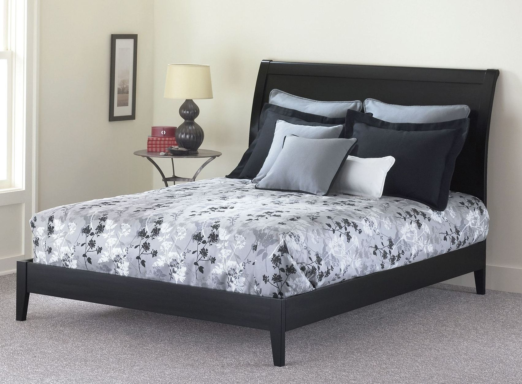 Java Black And Cherry Queen Ornamental Platform Bed