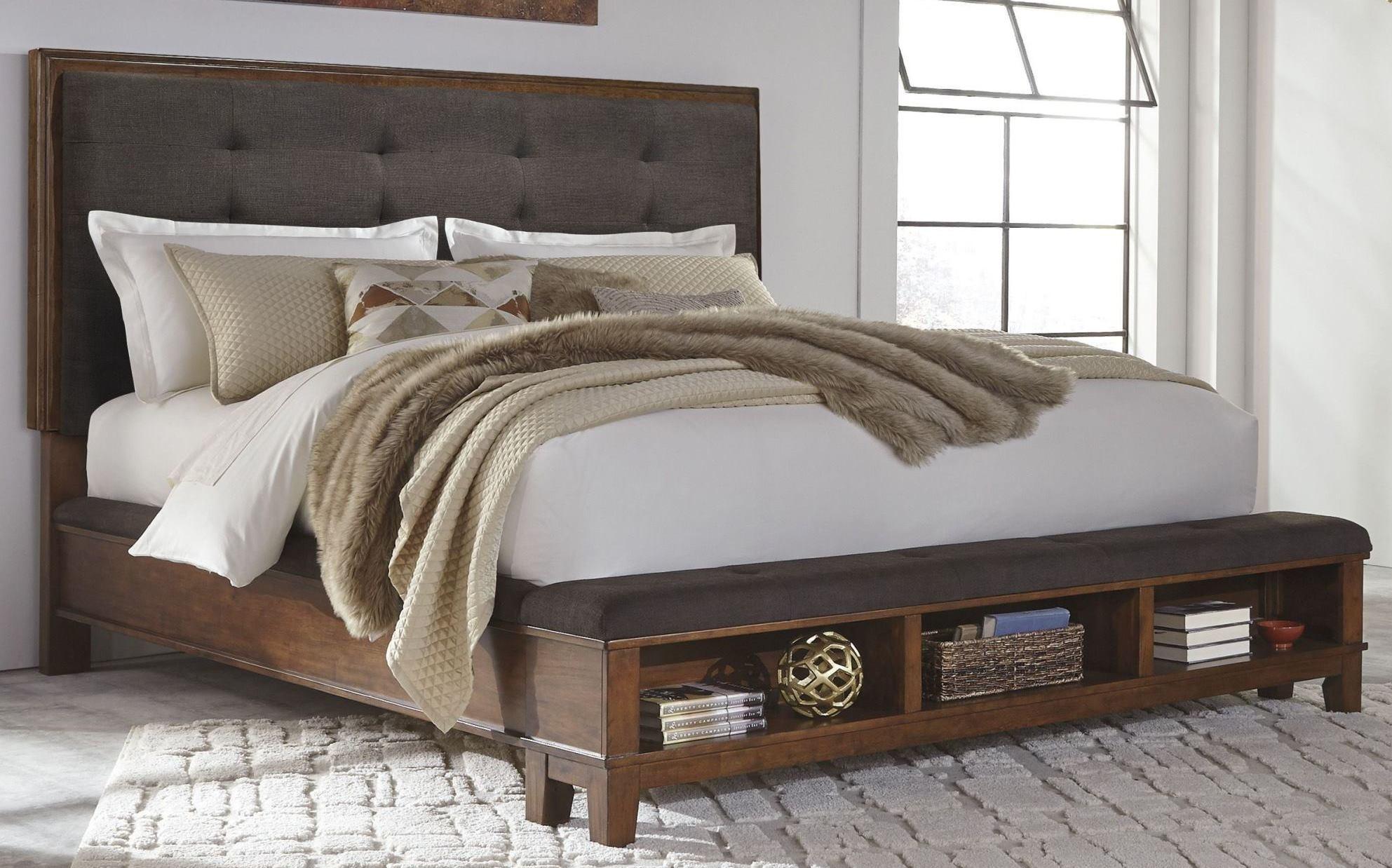Ralene Dark Brown Upholstered Storage Bedroom Set From