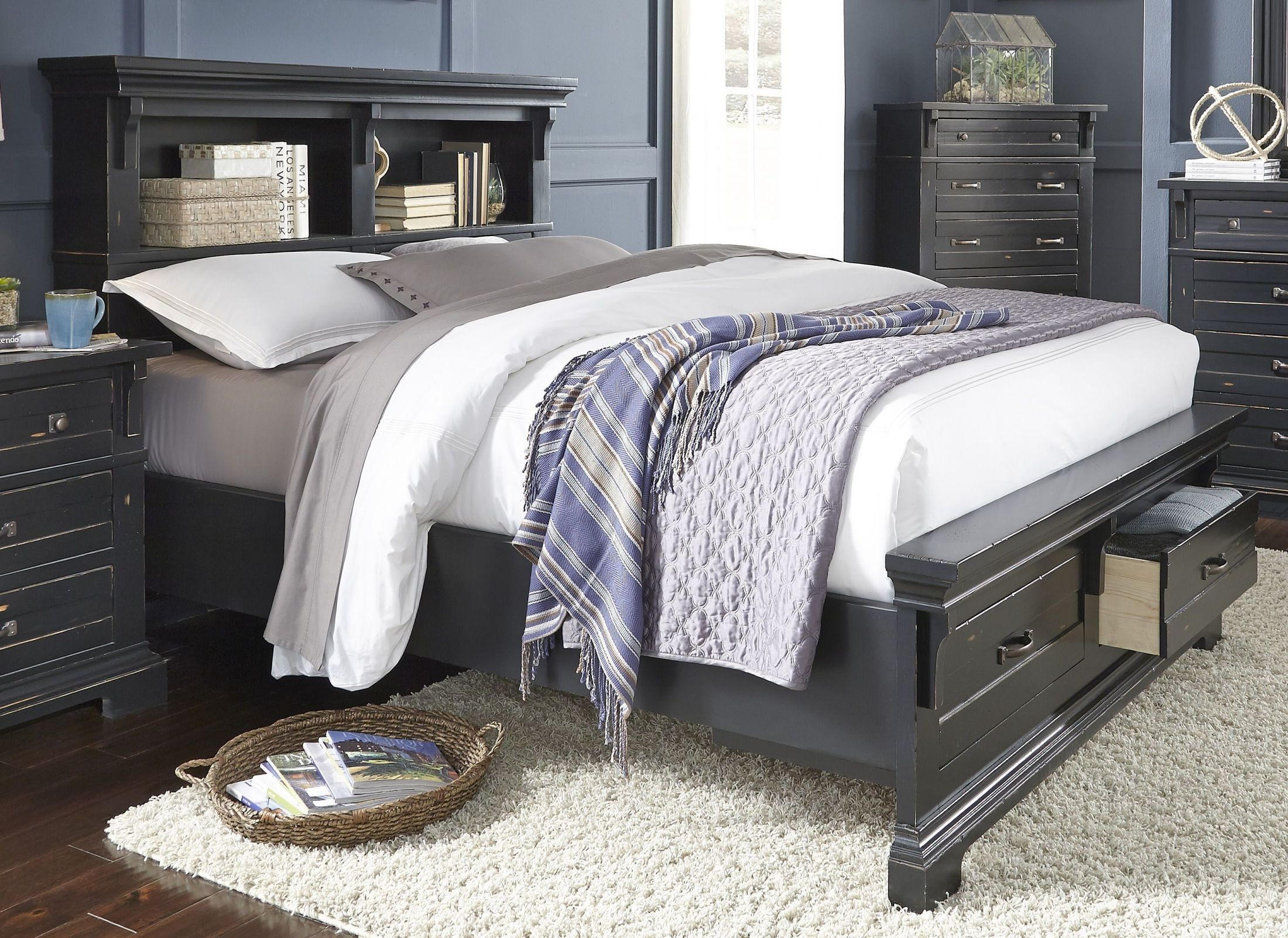 Chestnut Hill Weathered Black King Storage Panel Bed From