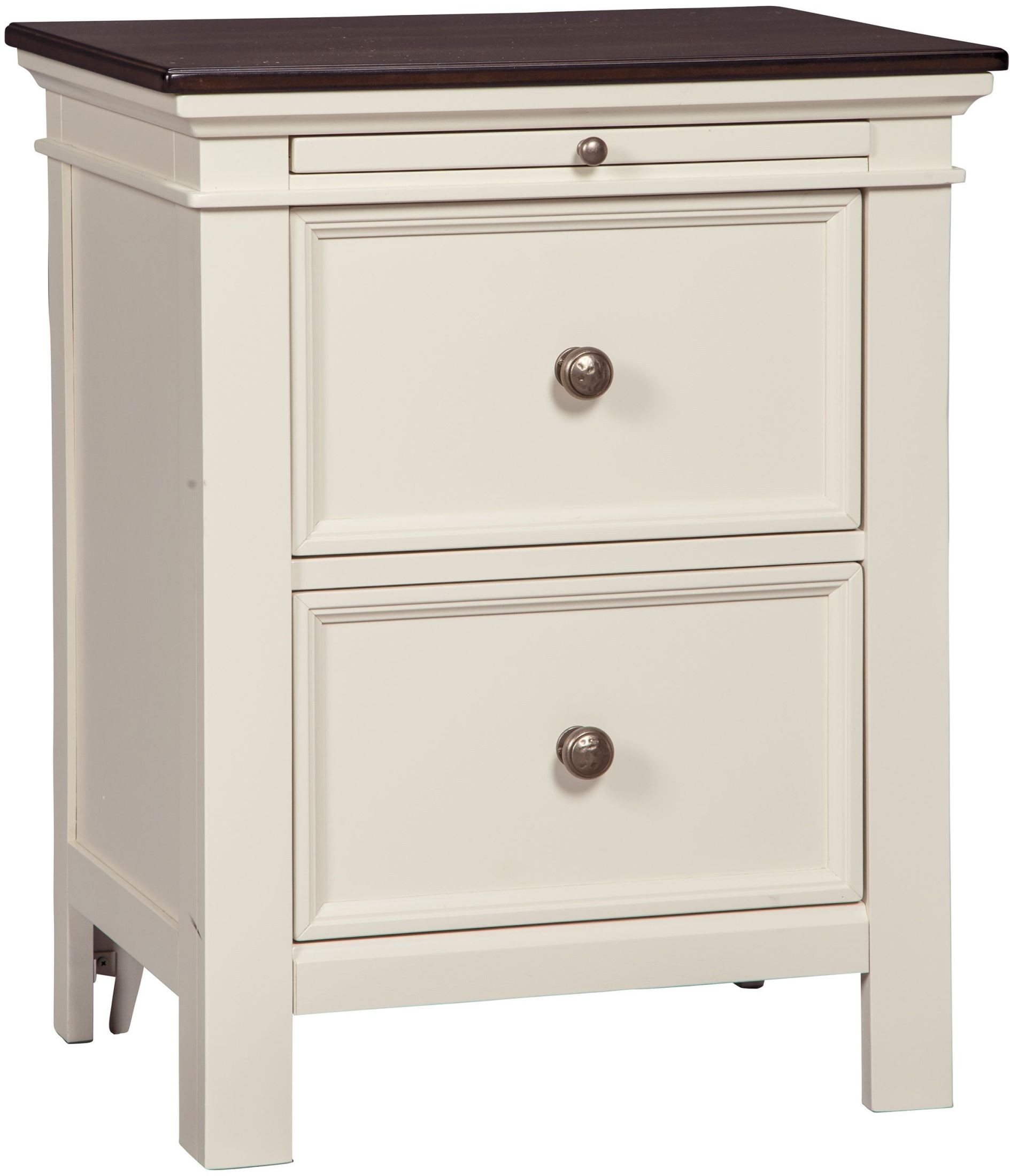Woodanville White and Brown 2 Drawer Nightstand, B623