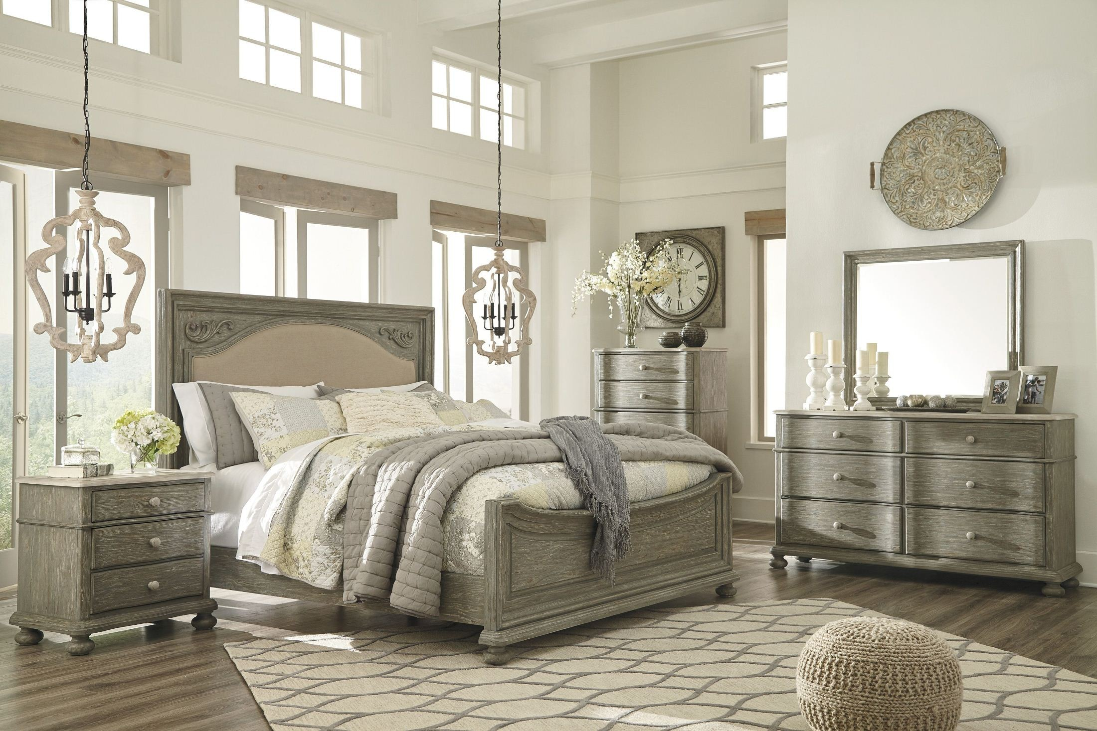 grey bedroom chair next plus size beach chairs marleny gray and whitewash upholstered panel set