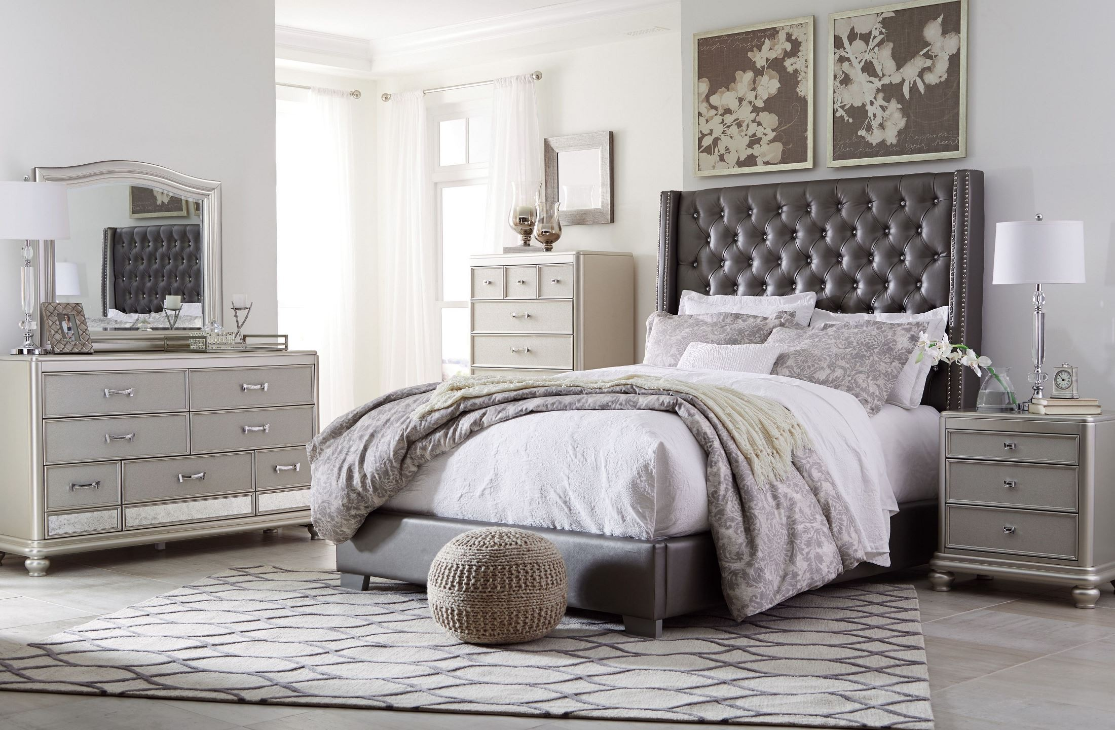 Coralayne Gray Textured Upholstered Youth Panel Bedroom