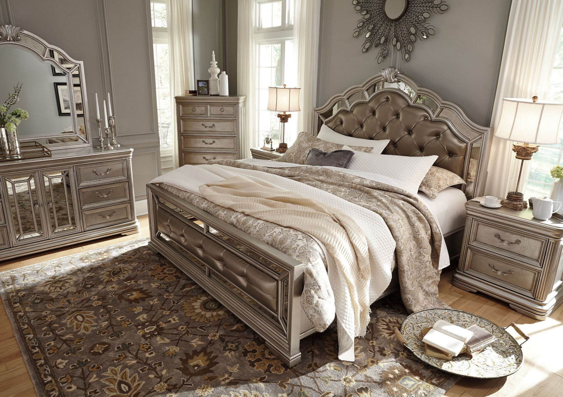 Birlanny Silver King Upholstered Panel Bed From Ashley