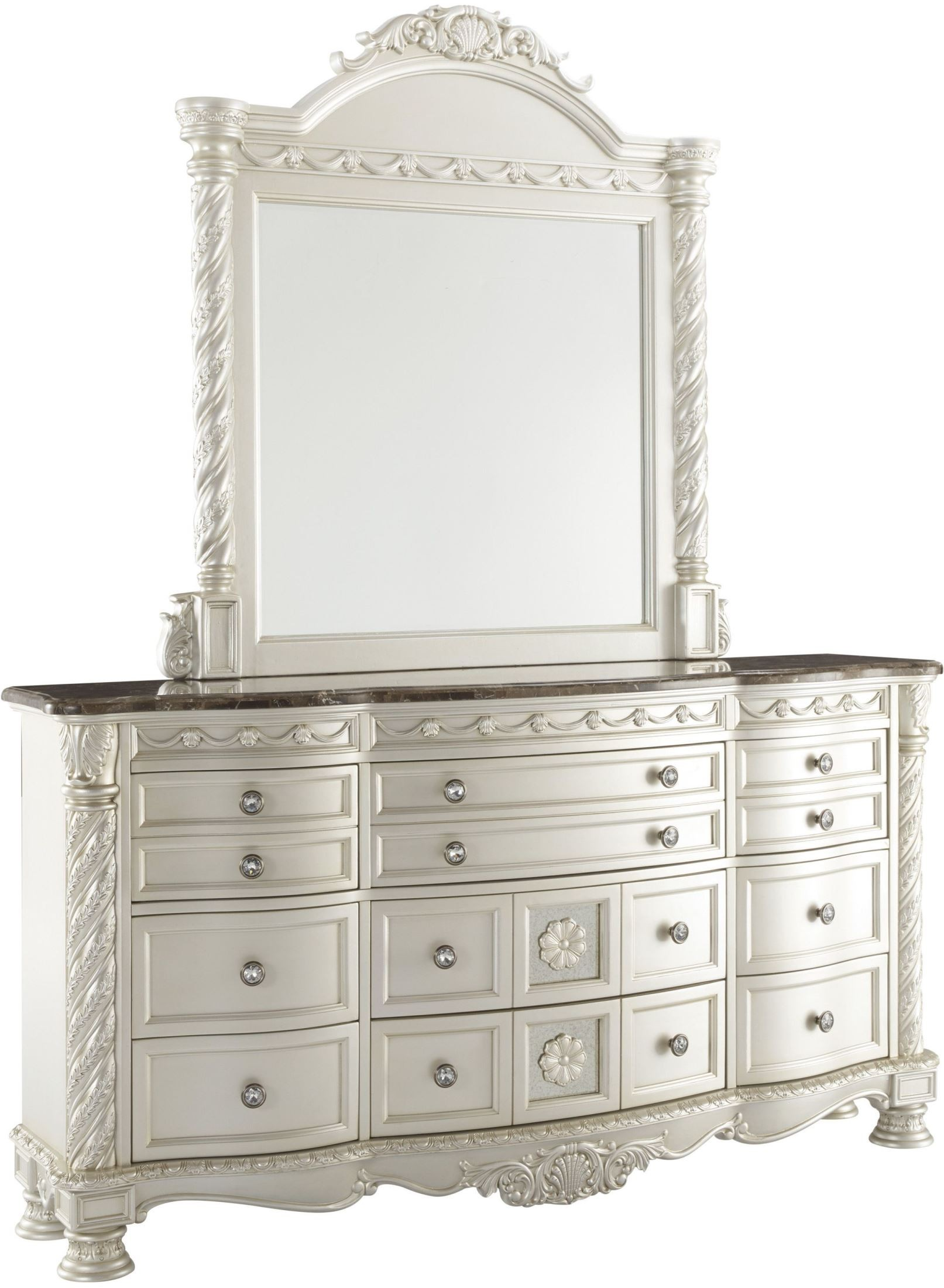 Cassimore North Shore Pearl Silver Bedroom Mirror From