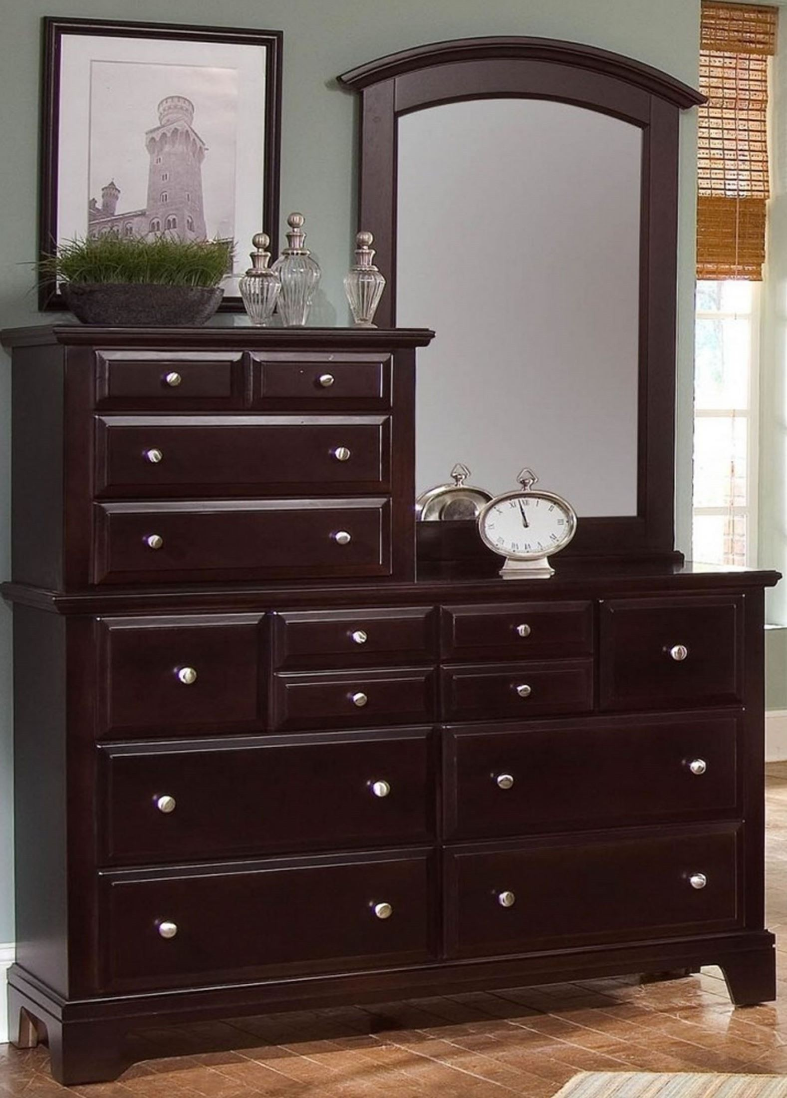 HamiltonFranklin Merlot 10 Drawer Vanity Dresser from Virginia House  Coleman Furniture