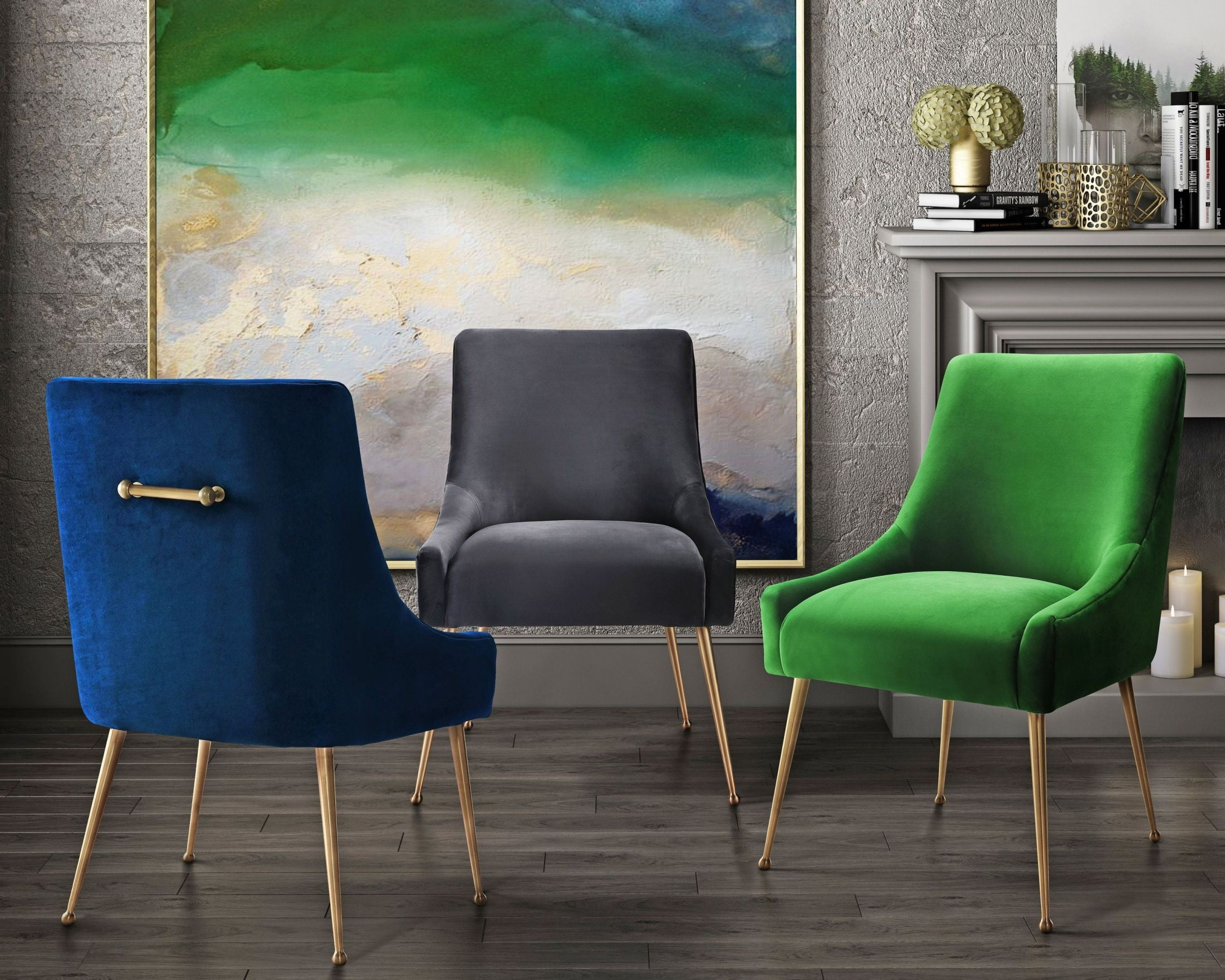 Green Velvet Dining Chairs Beatrix Green Velvet Side Chair D46 Tov Furniture