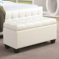 500129 White Faux Leather Rectangular Storage Bench from ...